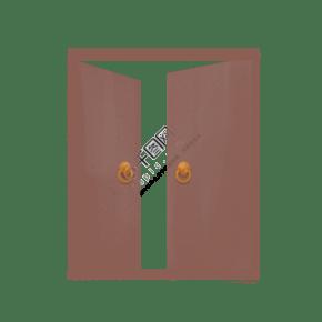 手繪深棕色的門插畫