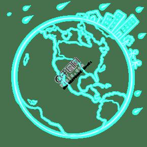 建筑地球房子剪影霓虹手繪