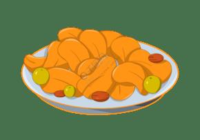 一盤干果零食插畫