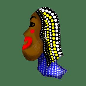 波点非洲女人侧脸头像摆件PNG图片