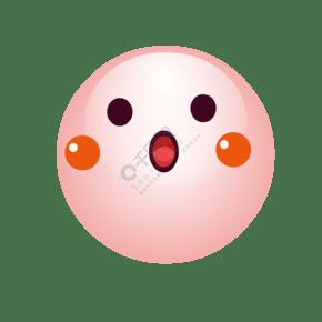 手绘粉红圆形玻璃球可爱的圆形笑脸