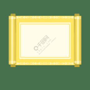 手繪淺黃色卷軸邊框