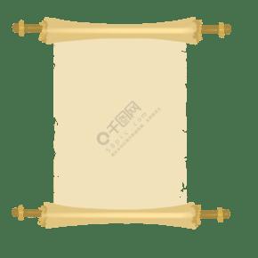 手繪宣紙的卷軸邊框