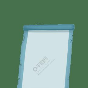 手繪青色的卷軸邊框