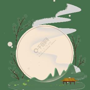 中國風古風淡彩亭子邊框