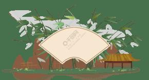 中國風竹子和亭子邊框