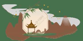中國風古風竹子亭子邊框