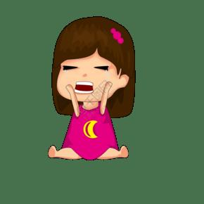 卡通可爱女宝宝哭泣