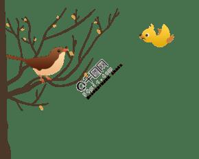 树枝和小鸟PNG