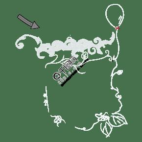 手繪藤曼不規則創意圖形涂鴉隨意框架輕松免摳素材