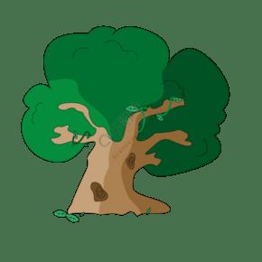 卡通可爱的歪脖大树