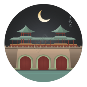 南京玄武門扁平風夜景地標建筑插畫
