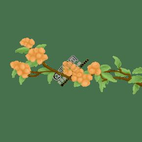 春天夏天枇杷果手繪插畫psd