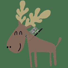 矢量扁平儿童画可爱驯鹿
