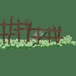 春天夏天柵欄青草和花手繪插畫psd