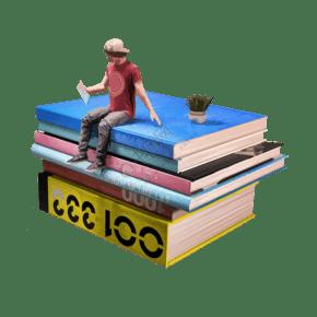 手绘坐在书堆上看书的男孩