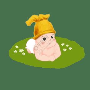 手绘黄帽子宝宝婴儿小朋友免抠