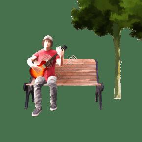 手繪樹下彈吉他的少年