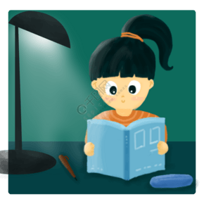 夏季畢業高考女孩燈下學習讀書手繪插畫psd
