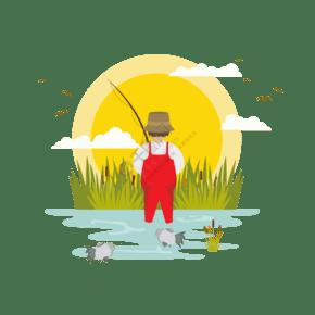釣魚場景插畫PNG