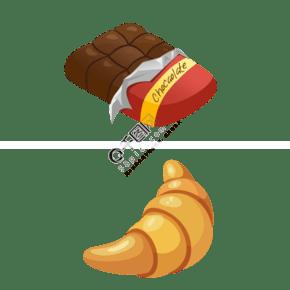 手繪卡通風面包巧克力
