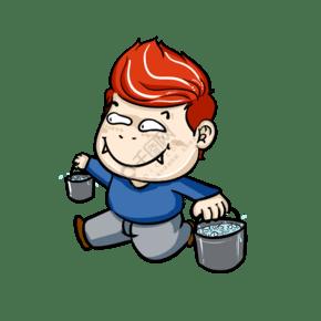 手绘卡通拎水桶动作