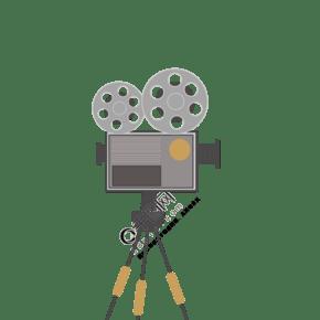 扁平风格老式放映机插画 PNG图片