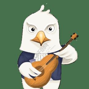 彈吉他的小鳥創意卡通插畫