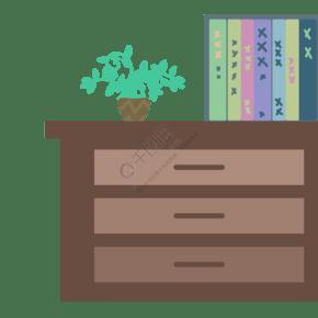 生活柜子書架植物盆栽手繪插畫psd