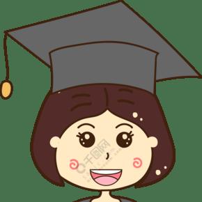 毕业领取证书的卡通小女孩