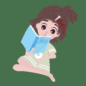 處暑夏季夏天清新女孩讀書手繪插畫psd
