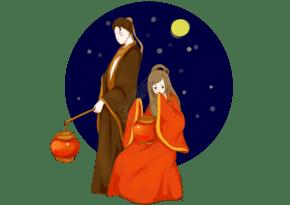 七夕节提灯牛郎织女素材