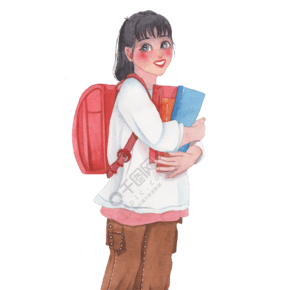 中学生开学季手绘水彩背书包的小女孩