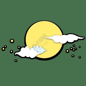 满月中秋节圆月星星云彩白云天空手绘插画剪纸psd