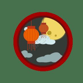 手绘中秋节圆形窗户psd格式