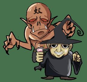 手绘老奸巨猾的巫师免抠图