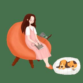 手绘唯美看书的女孩与狗