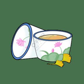 手繪清茶茶杯插畫