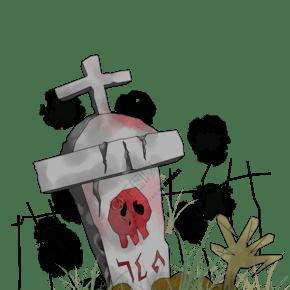 卡通厚涂手繪原創萬圣節石碑十字架恐怖裝飾插畫PNG