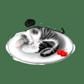 美食貓黑白經典色寫實手繪風小貓睡在碟子里PNG