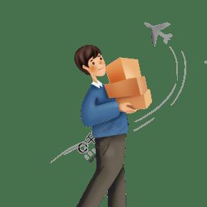 手繪快遞物流人員和飛機