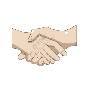 握手特寫手繪插畫
