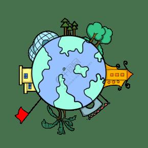 卡通地球手繪插畫