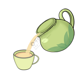 手繪茶具倒茶插畫