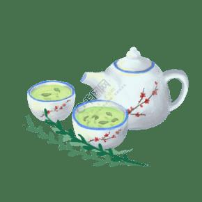 手繪清茶茶壺插畫矢量圖