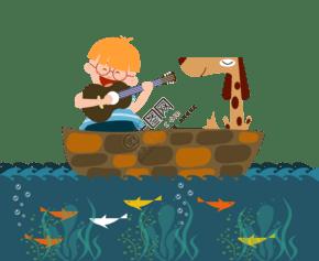 小男孩在海上彈琴