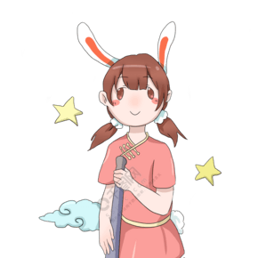 手绘中秋节小女孩插画