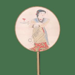 古风人物团扇扇子插画