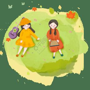 秋天出游閨蜜旅游小女孩結伴出行