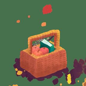 水果籃子手繪插畫psd